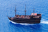 Fun cruise ship, Black Pearl from Ayia Napa, Cyprus off Cape Greco. - Stock Image - EA00R9