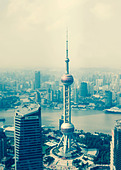 View of the Oriental Pearl Tower, Lujiazui financial district, Pudong, Shanghai, China - Stock Image - DM0531