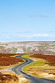 Winding road on Redmire Moor Yorkshire Dales England UK - Stock Image - BEJFAX