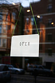 open sign on small business door - Stock Image - B8FN4W