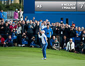 Gleneagles, Auchterarder, Perthshire, Scotland. 27th Sep, 2014. The Ryder Cup, Day 2. Justin Rose (EUR) celebrates a winning putt on the 11th green. Saturday Fourballs. © Action Plus Sports/Alamy Live News - Stock Image - E809AJ
