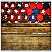 Stack of industrial barrels - Stock Image - D6YGAD