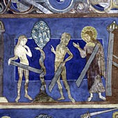 fine arts, religious art, Adam and Eve, fall of men, painting, fresco, 13th century, church of Bjäresjö, Ystad, Europe, Sweden, - Stock Image - A3XJ4R