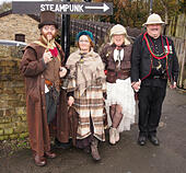 Haworth, UK, 23rd November 2014. Characters in fancy dress for the Steampunk festival weekend at Haworth today. © Sue Burton/Alamy Live News - Stock Image - EB0T1H