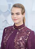 Los Angeles, California, USA. 12th Apr, 2015. Model Cara Delevingne attends The 2015 MTV Movie Awards at Nokia Theatre L.A. Live in Los Angeles, USA, on 12 April 2015. © dpa picture alliance/Alamy Live News - Stock Image - EKNF6N