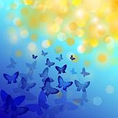 Abstract colourful background with butterflies. A vector. - Stock Image - DNM0YX