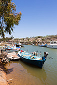 Fishing boats at rest, Potomas Creek, Liopetri, Cyprus - Stock Image - E1JFRW