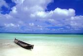 Dugout canoe on beach in the Kei Islands in Maluku Indonesia Southeast Asia - Stock Image - AJ6FBF