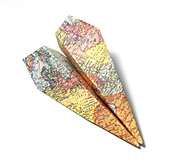 Map folded as a paper airplane cut out white background - Stock Image - D2D6N2