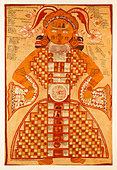 Jain Purushkara Yantra, cosmic figure gouache on silk from Rajasthan India circa 1780 showing Jambudvipa the heavens and hell. - Stock Image - DRNHG5