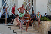 Sousse, Tunisia. 26th June, 2015. Tourists are seen in the attacked hotel in Sousse, Tunisia, June 26, 2015. The victim toll grew to 37 killed, 36 injured including 3 in critical situation, in deadly hotel attack in Tunisia's Sousse, said the Tunisian Ministry of Health on Friday. © Adel Ezzine/Xinhua/Alamy Live News - Stock Image - EWJ13C