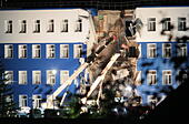 Omsk Region, Russia. 13th July, 2015. A section of a four-storey barracks of an airborne troops training centre in the Omsk Region, Siberia has collapsed. © At least 18 soldiers have been killed, 19 have been rescued and taken to medical institutions, and 5 remain missing.Dmitry Feoktistov/TASS/Alamy Live News - Stock Image - EXEGA8