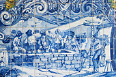 azulejos crushing grapes in lagares ferreira port lodge vila nova de gaia porto portugal - Stock Image - C0TDWW