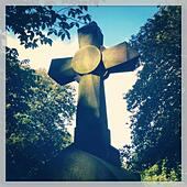 Stone cross in graveyard - Stock Image - S005MD