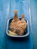 Two fried snappers in an enamel dish - Stock Image - BJKA61