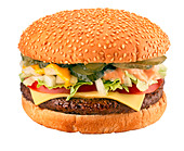 CUT OUT OF CHEESEBURGER - Stock Image - D1WJRW