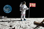 An astronaut on the moon saluting next to a flag with OPEN on it - Stock Image - BP6J26