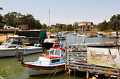 Boats in Potamos Creek, Liopetri, Larnaca, Cyprus - Stock Image - E127NG