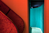 Red and turquoise interior - Stock Image - C84NEH