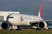Japan Airlines - JAL Boeing 777-346/ER taxiing for departure at London Heathrow airport. - Stock Image - B7DR3E
