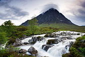 Buachaille Etive Mor and River Coupall, Highland, Scotland, UK. - Stock Image - C5E6YJ