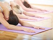Three women doing pilates - Stock Image - AWG8TH