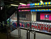 Urban signs near subway station - Stock Image - CBD6P5