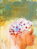 Woman with flowers on head - Stock Image - BGYC9X
