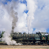 "Historic steam locomotive ""Pacific PLM 231 K 8"" of ""Paimpol-Pontrieux"" train Brittany France - Stock Image - D5RACD"