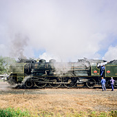 "Historic steam locomotive ""Pacific PLM 231 K 8"" of ""Paimpol-Pontrieux"" train Brittany France - Stock Image - D5RAH4"